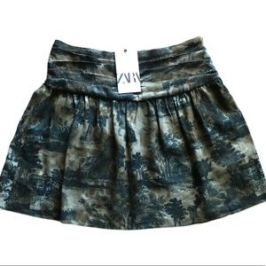 Zara Khaki Printed Linen Blend Pleated Mini Skirt